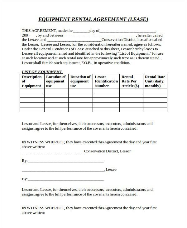12+ Equipment Rental Agreement Templates – Free Sample, Example ...