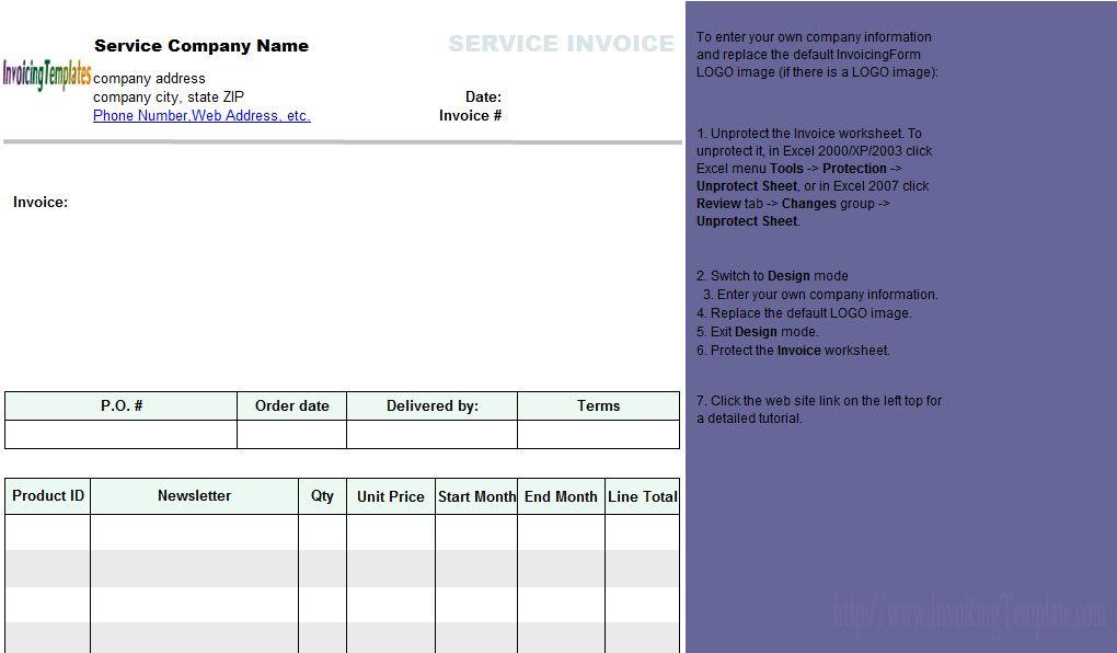 Subscription Invoice Template (Service)