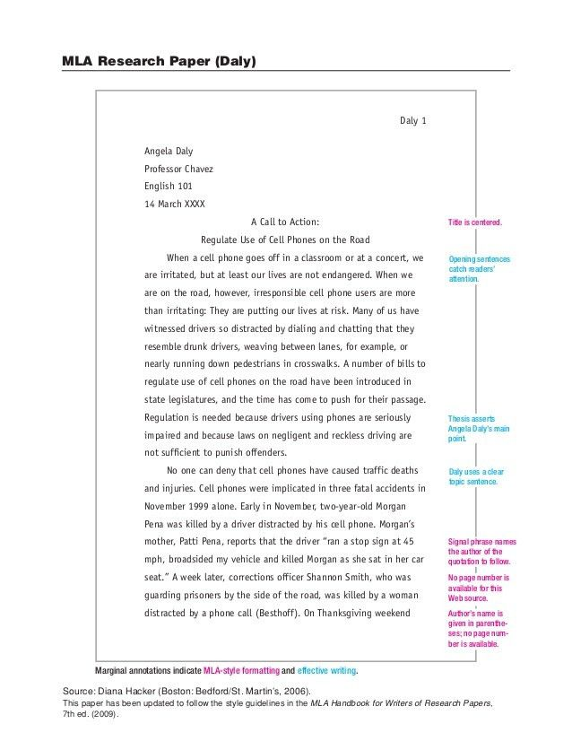 Sample Paper in MLA format - Stoneham High School Library/Media ...