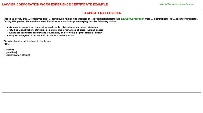 Lawyer Corporation Work Experience Certificate
