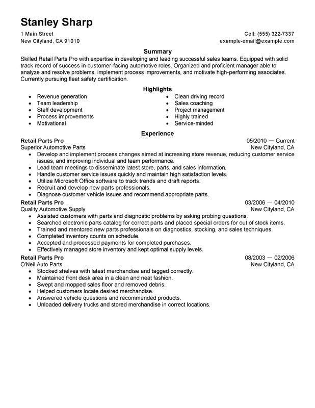 Inside Sales Resume Examples Auto Parts Sales Resume Resume ...