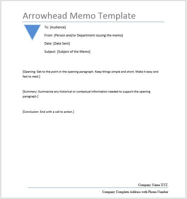 Arrowhead Memo – Word Template – Microsoft Word Templates