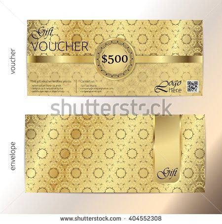 Voucher Voucher Gold Gift Luxury Certificate Stock Vector ...