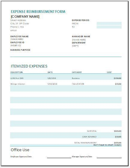 Expense Reimbursement Form Templates for Excel   Word & Excel ...