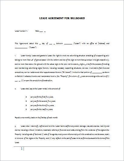 Billboard Lease Contract Template for WORD | Document Hub