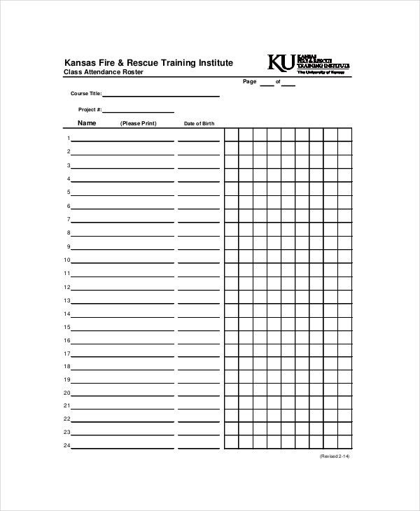 Attendance Roster Template - 7+ Free Word, PDF Documents Download ...