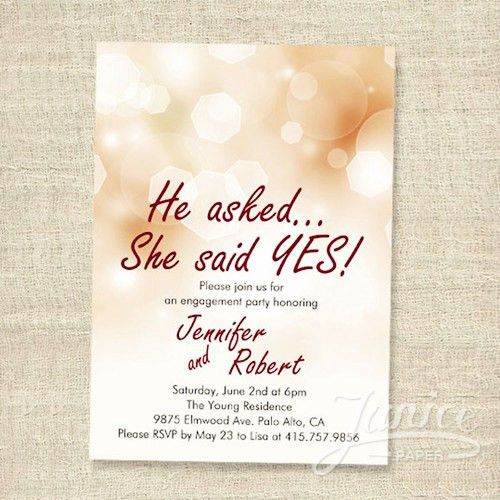 Shimmery Elegant Engagement Party Invitation Cards WFEI013 ...