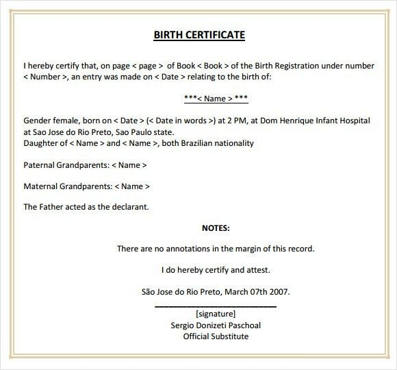 Sample Birth Certificate. It Birth Certificate Free Download ...