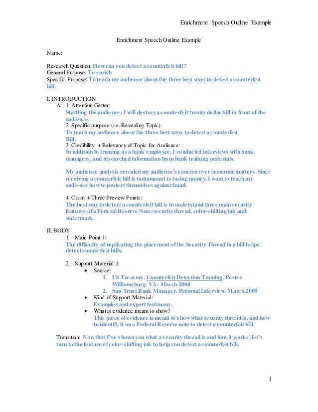 Speech 2 Assignment SAMPLE OUTLINE