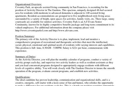 board of directors resume sample reentrycorps - Activity Director Resume
