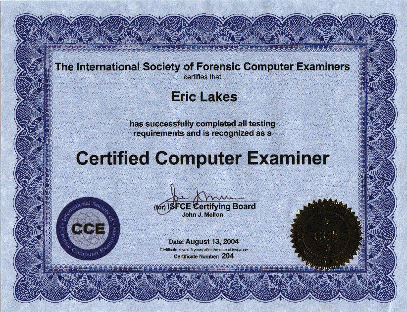 FAKE Novelty Certificate: COMPUTER EXAMINER CERTIFICATE Novelty ...