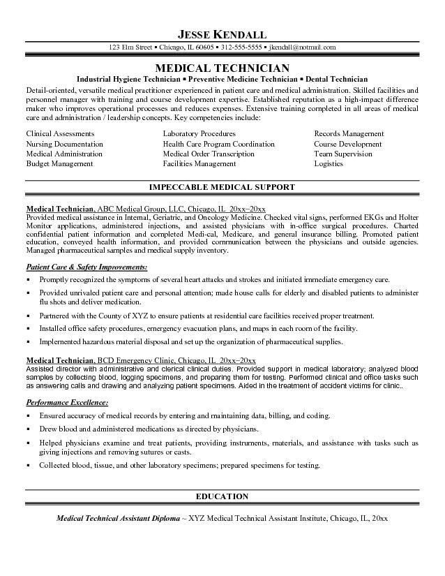 Free Medical Medical Technician Resume Example