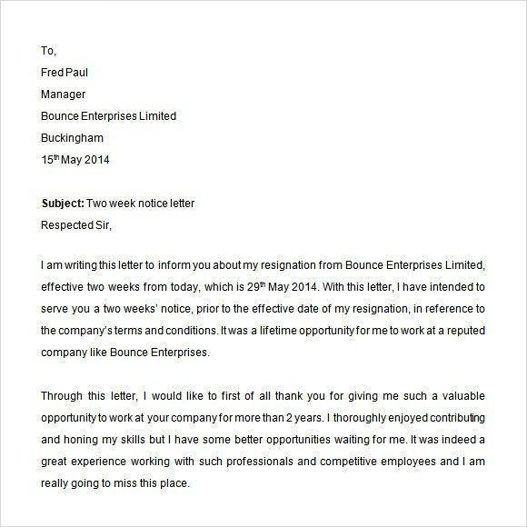 Sample Two Weeks Notice Letter - 11+ Free Documents In PDF, Word