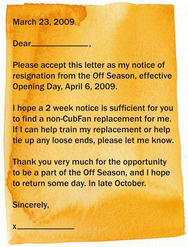 mypicsain: resignation letter 2 week notice