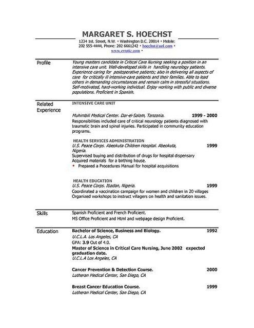 Professional Resume Template 52 Free Samples Examples Format In ...