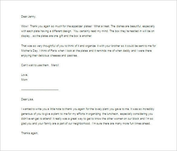 Thank You Letter For Gift – 10+ Free Sample, Example Format ...