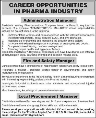 Admin / Fire & Safety / Procurement Manager Jobs in Karachi 2015 ...