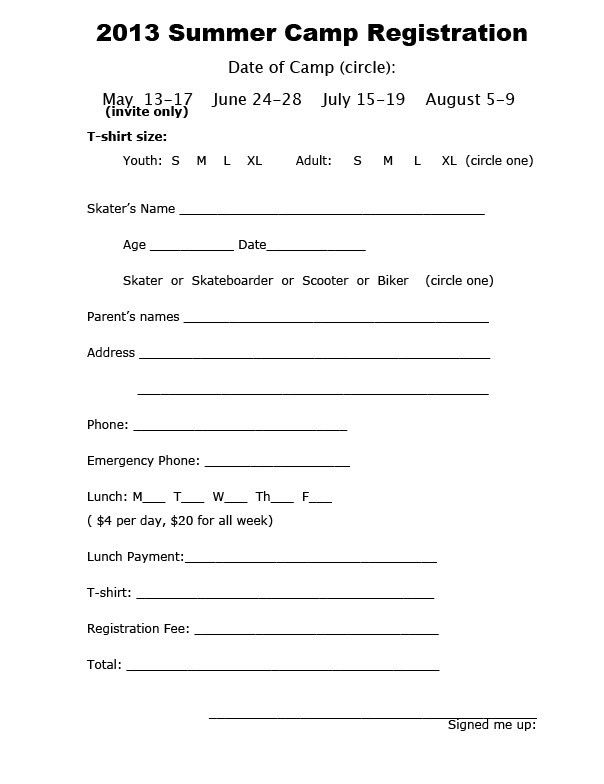 Summer Camp Registration Form Template | Template Idea