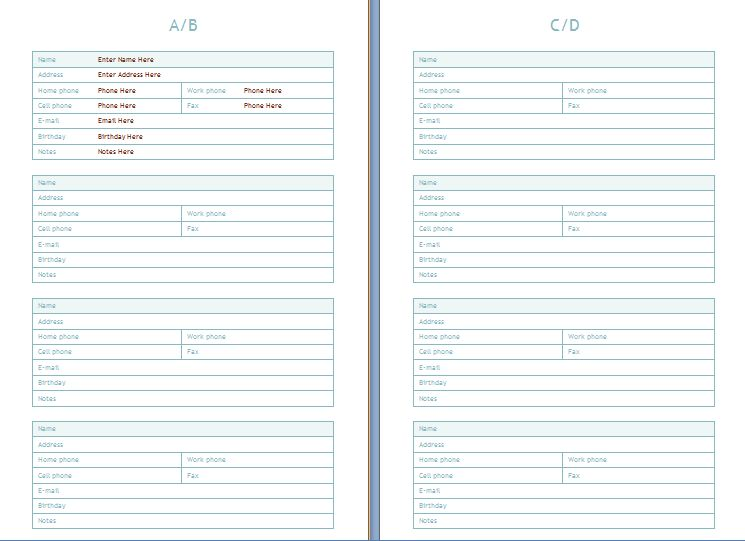 Personal Contacts Address Book Template | Formal Word Templates