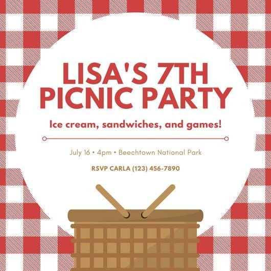 Red and White Picnic Cloth and Basket Picnic Invitation ...