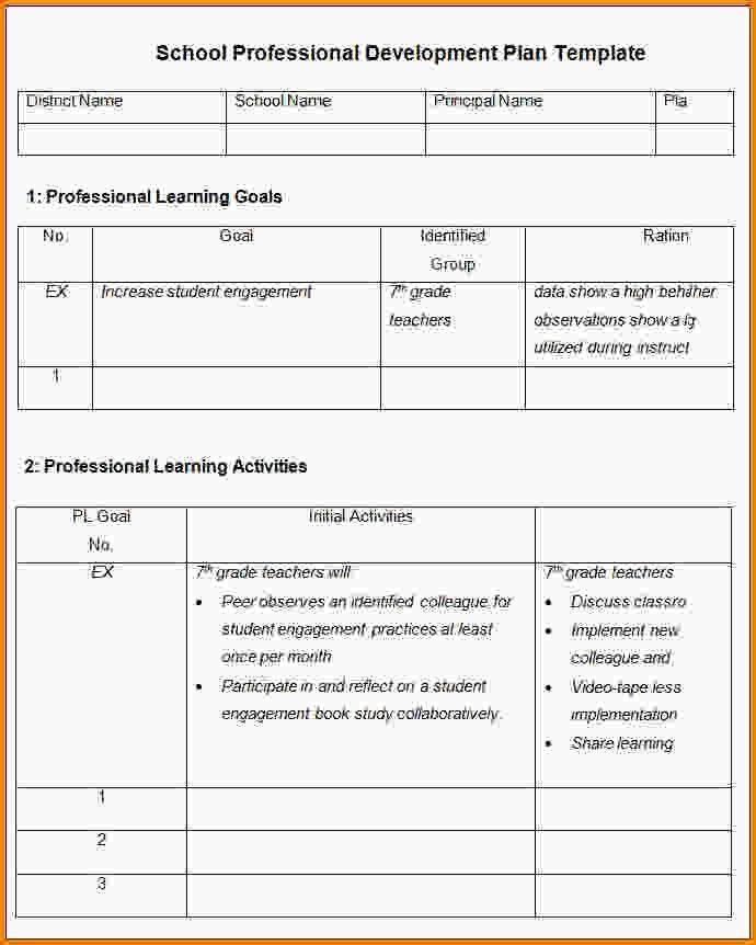 Development Plan Template.School Professional Development Plan ...