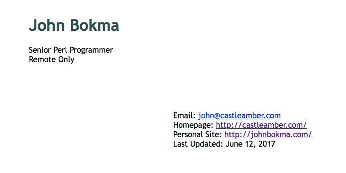 Resume of Perl programmer John Bokma