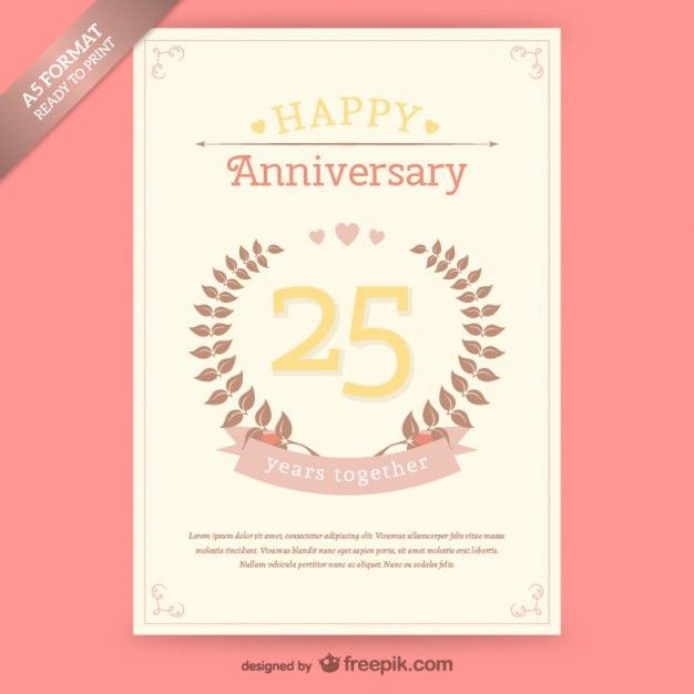 25 years anniversary card Vector | Free Download