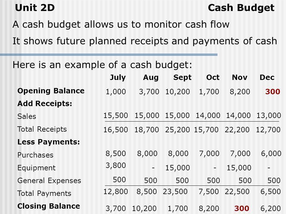2D GOING SOLO CASH BUDGETS. Cash BudgetUnit 2D A cash budget ...