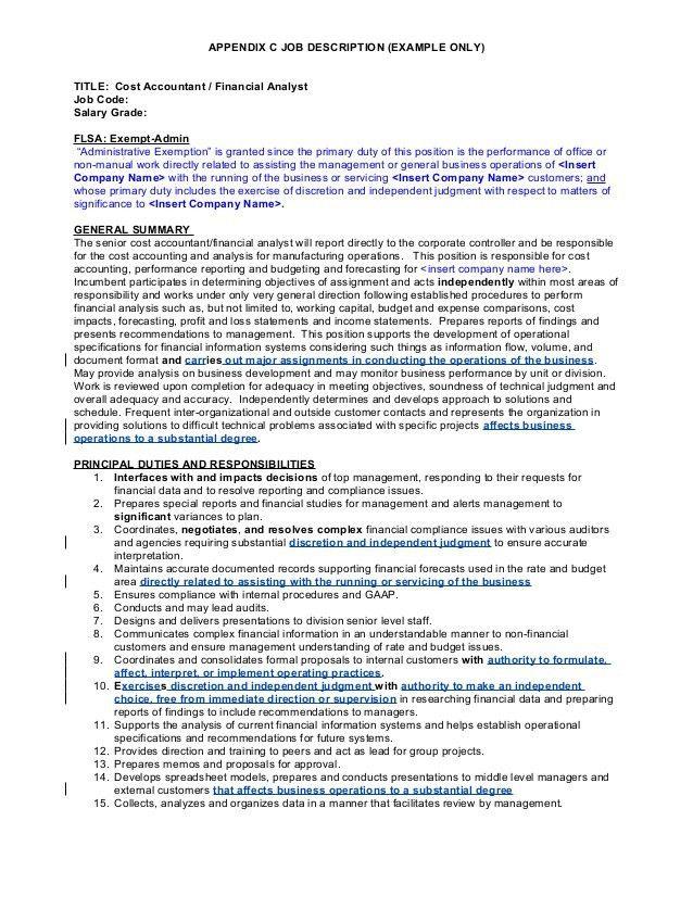 FLSA Administrative Exemption (Job Description Checklist)