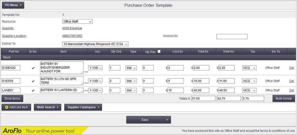 Purchase Order Templates - Office Documentation - AroFlo Documentation