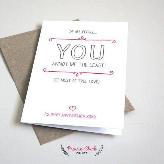 You annoy me the least ANNIVERSARY CARD / wife husband
