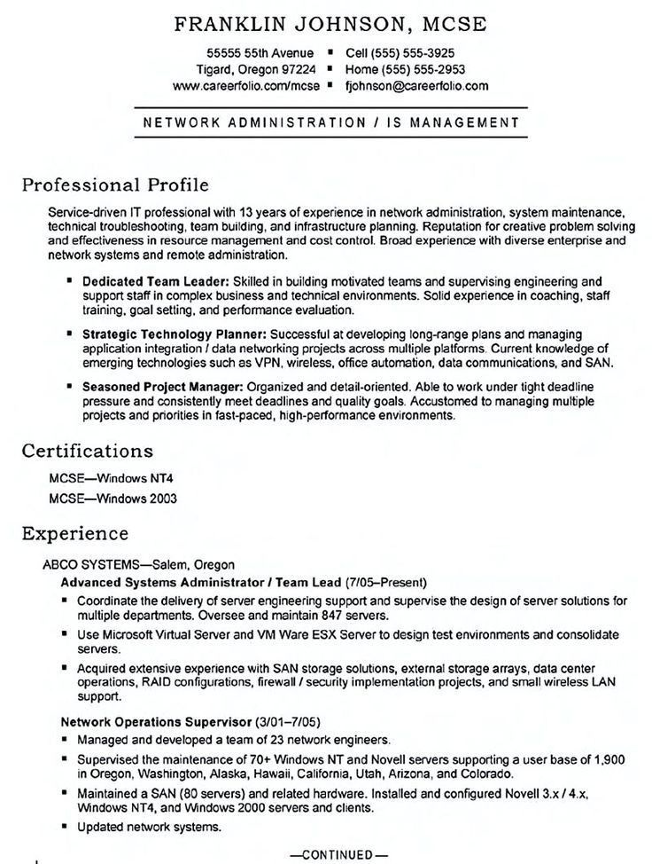 Linux System Administration Sample Resume 15 Kronos Systems ...