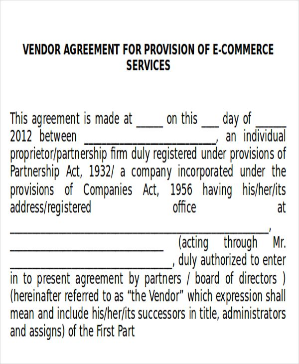 Sample Vendor Agreement - 10+ Examples in Word, PDF