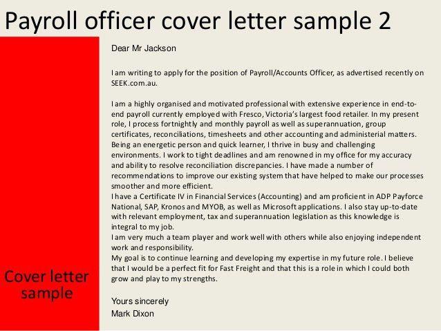 Payroll officer cover letter