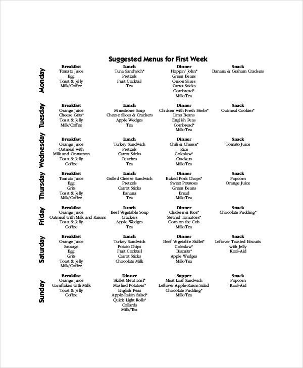 Weekly Menu Template - 7+ Free PDF, Word Documents Download | Free ...