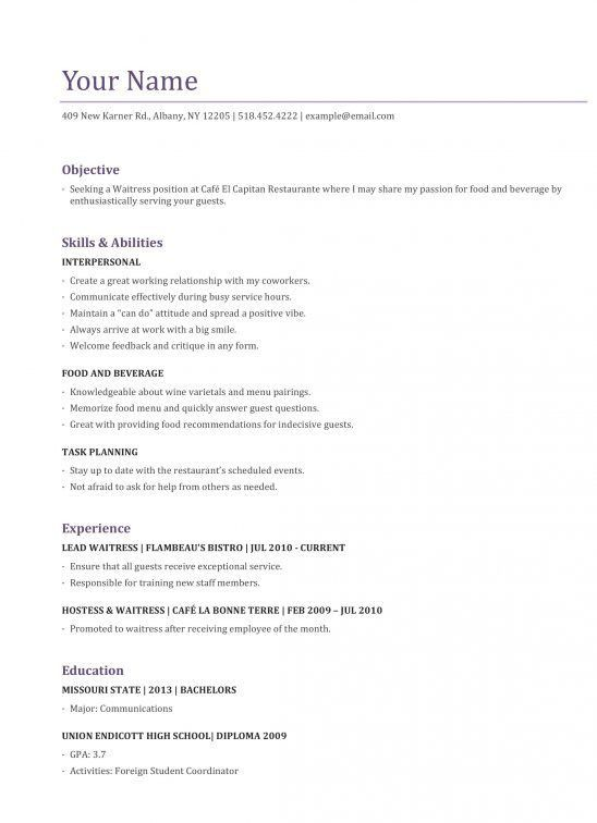 waiter objective resume resume cv cover letter. waiter objective ...