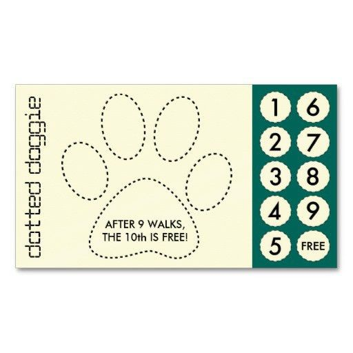 dog walker cut out punch cards business card template | Veterinary ...