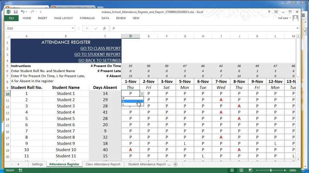 Attendance Record Template Excel School Register And Report V2 ...