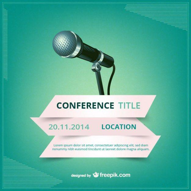 Cartaz vetor conferência | Flat design, Vector free and Design ...