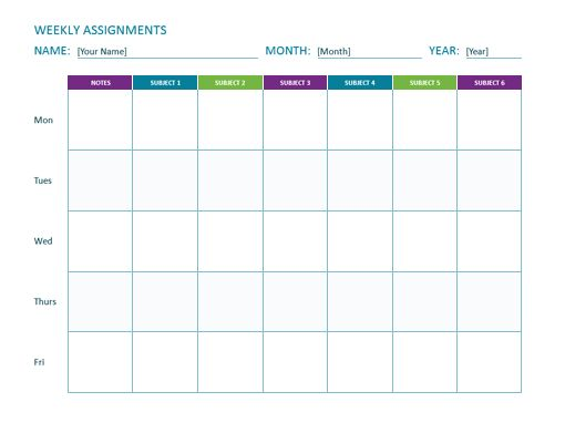Weekly assignment sheet - Office Templates