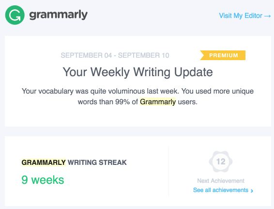 Common questions about Grammarly's Weekly Progress Report ...