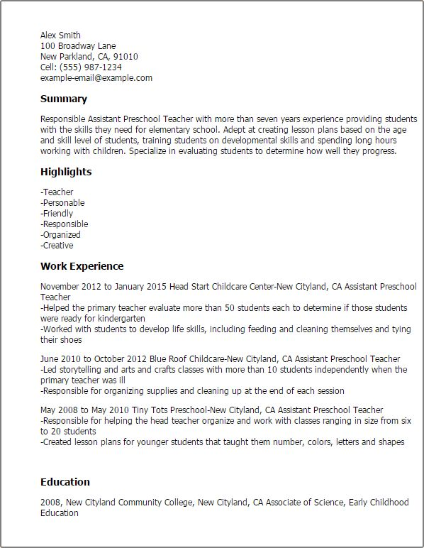 lead teacher resume resume for preschool teachers job career early ...