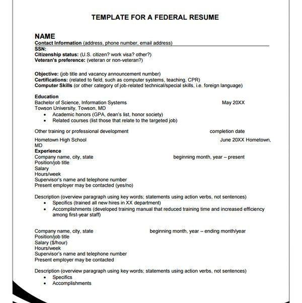 10+ Federal Resume Templates - Free Samples, PDF