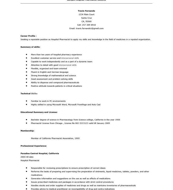 Fancy Idea Sample Pharmacist Resume 8 Examples Medical - Resume ...