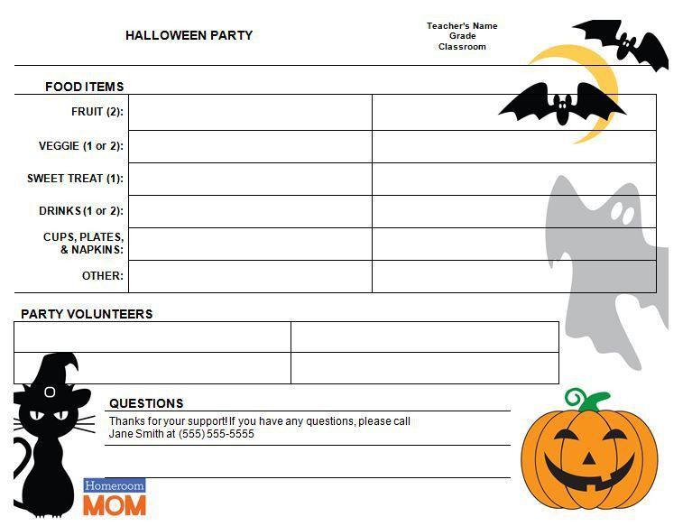 Halloween Classroom Party Sign-Up Sheet - Homeroom Mom
