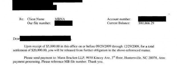 MBNA Sample Debt Settlement Offer Letter - Leave Debt Behind