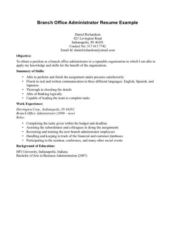 Branch Office Administrator Resume Example Displaying Objective ...