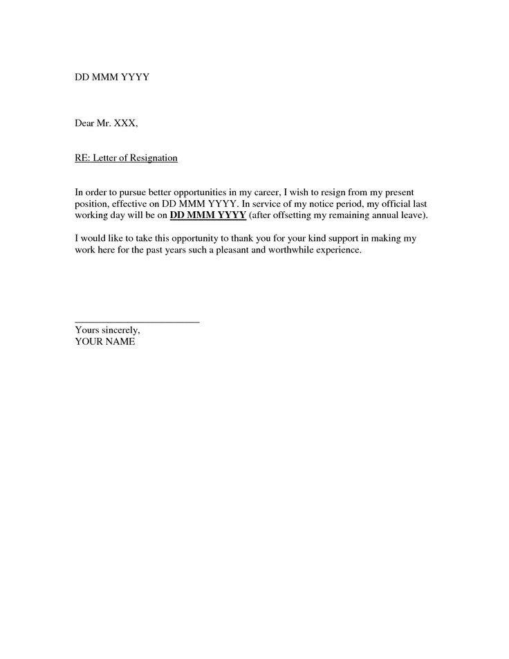 Templates Resignation Letter Resignation Template Resignation ...