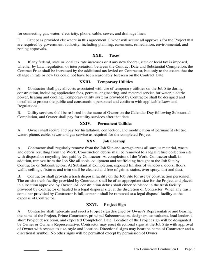 Construction Contract Form - California Free Download