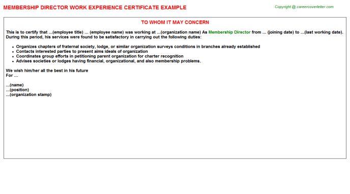 Membership Director Work Experience Certificate
